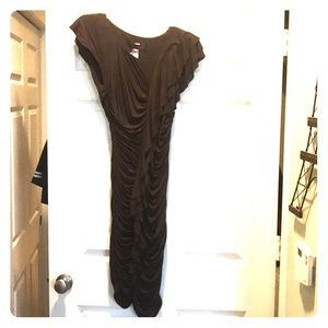 Never worn Miss Sixty brown rutched  bodycon dress